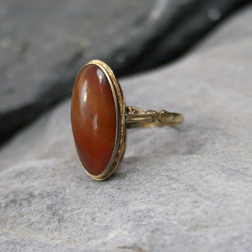 Victorian Moss Agate 18k Gold Ring