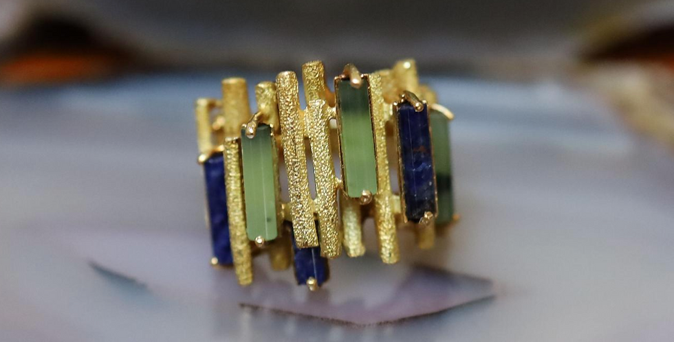 18k Yellow Gold Tourmaline & Lapis Ring Abstract Ring