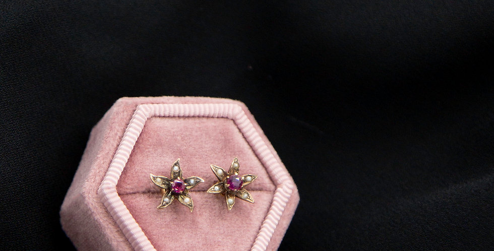 Antique Victorian Pearl and Ruby Earrings Studs in 10k Gold