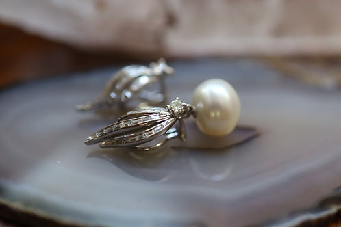 Platinum Diamond Retro Earrings / Flaming Baguette Diamond South Sea Pearls