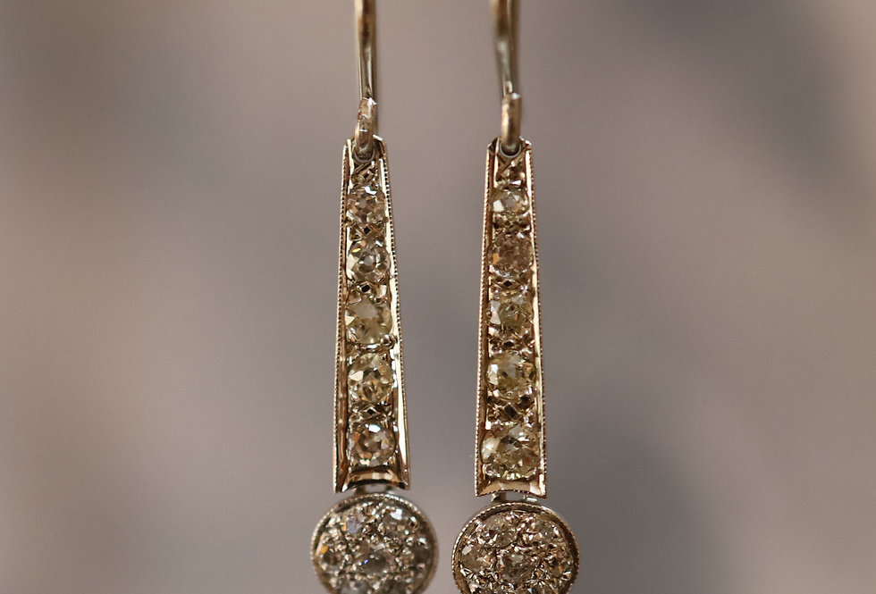 Art Deco Diamond Drop Earrings with 1.14 cts of Diamonds