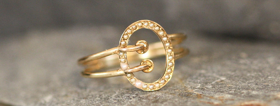 Victorian 14k Gold Buckle Ring / Pearl Buckle Ring