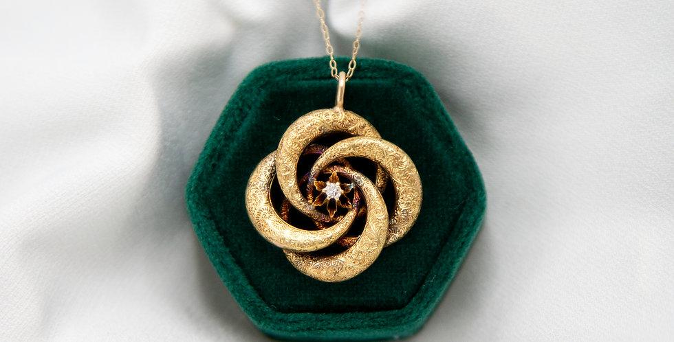 Victorian 15k Gold Repousse Large Lovers Knot Diamond Pendant