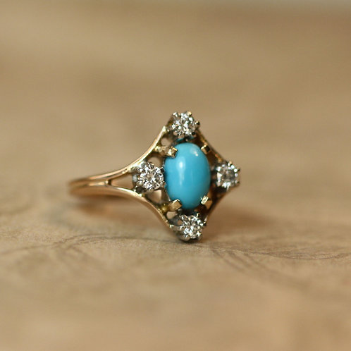 Victorian Turquoise and Diamond Ring in 14k Yellow Gold