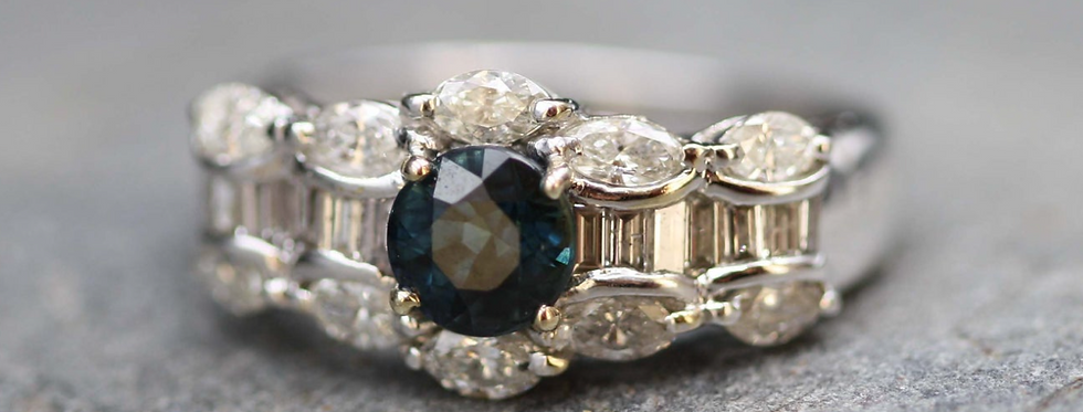 Sapphire and Diamond Estate Ring / Marquise and Baguette Diamond Ring
