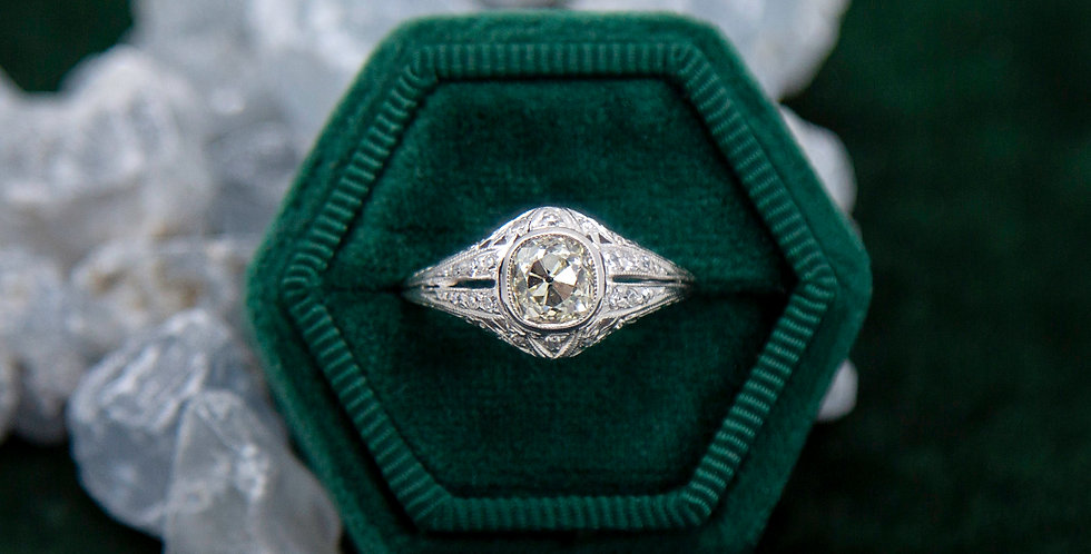 Platinum Art Deco Engagement Ring with a 1.00 ct Antique Cushion 1.35 cts Total