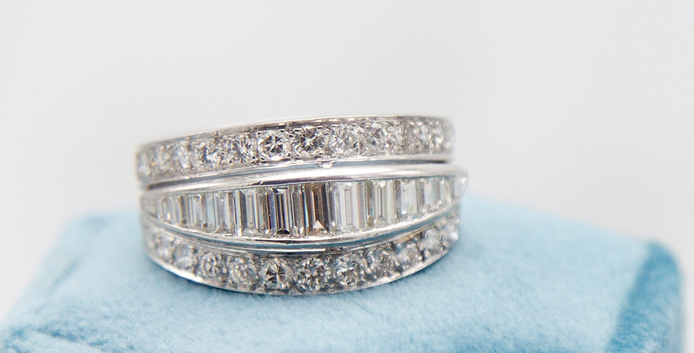 Platinum Baguette Diamond Eternity Band Right Hand Ring Anniversary Band