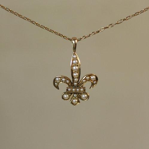 Fleur de Lis Pendant / Victorian Fleur de Lis Pearl Pendant in 14k Yellow Gold