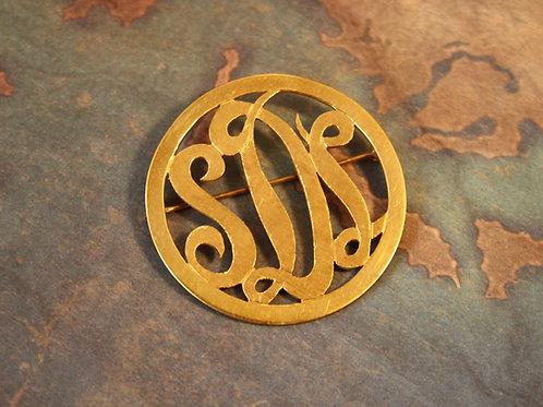 Mid Century 18k Gold Large Brooch Monogram Brooch SDL