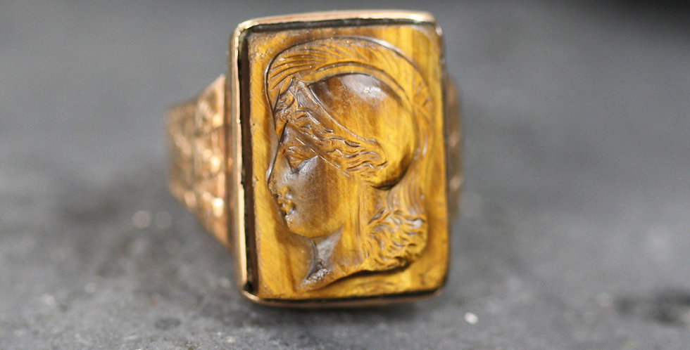 Nicely Carved Antique Victorian Tiger's Eye Cameo Ring 14k Gold