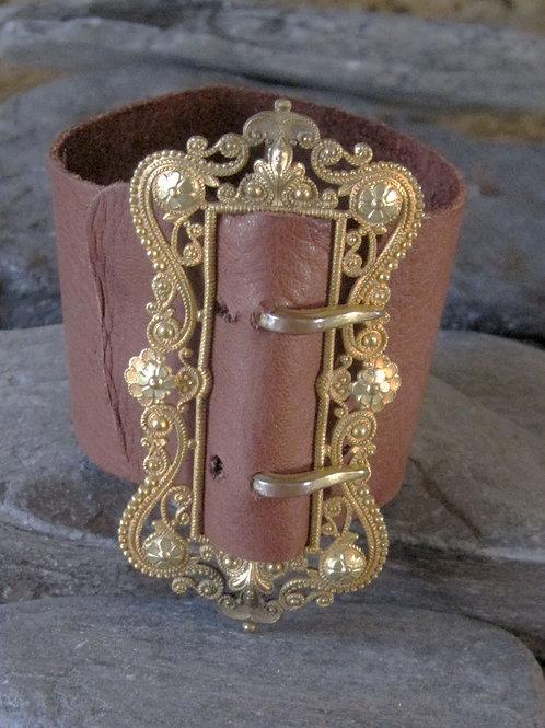 Victorian Buckle Bracelet Gold Plated Large Buckle Bracelet Leather Cuff Bracele