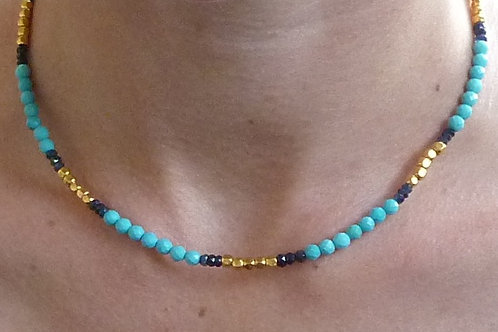 Turquoise Sapphire and 22k Yellow Gold Bead Necklace