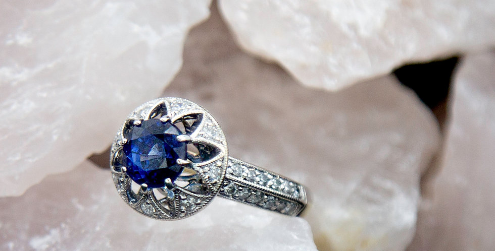 Sapphire & Diamond Halo Ring / Art Deco Style Sapphire Engagement Ring