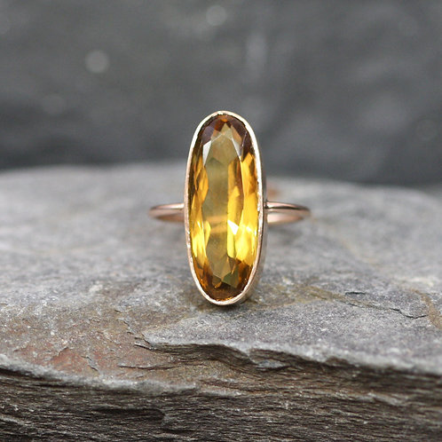 Large Oval Citrine Ring in 14k Rose Gold Conversion Ring