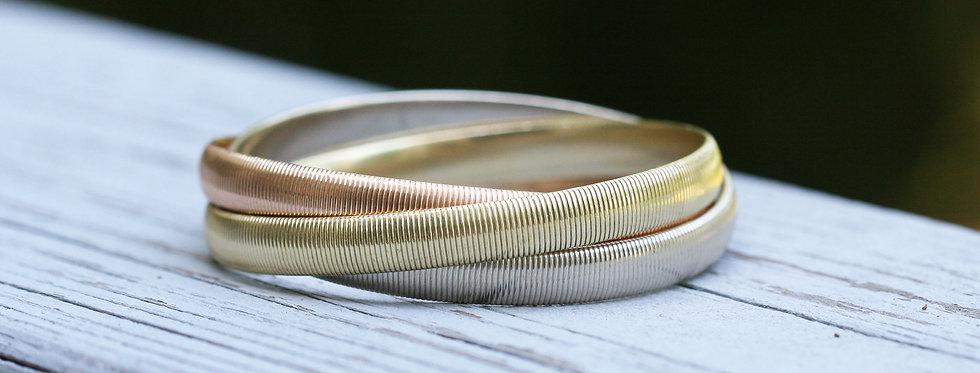CARTIER 14K Tri-Color Gold Trinity Rolling Bangle Bracelet 7 mm Wide Each Bangle