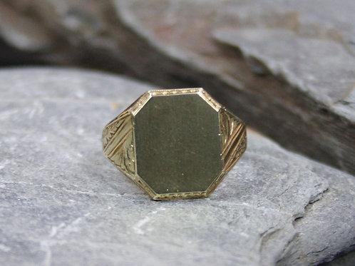 Art Deco Signet Ring / Men's Signet Ring in 14k Yellow Gold