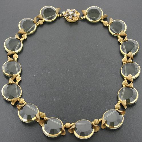 Beautiful Miriam Haskell Mid Century Smokey Quartz Necklace