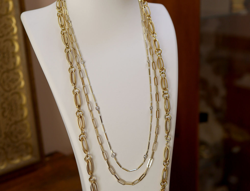 Diamond By The Yard Necklace / Fancy Link Gold Chain / Heavy Gold PaperClip