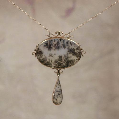 Antique Necklace Victorian Drop Picture Agate 14k Pink Gold Necklace