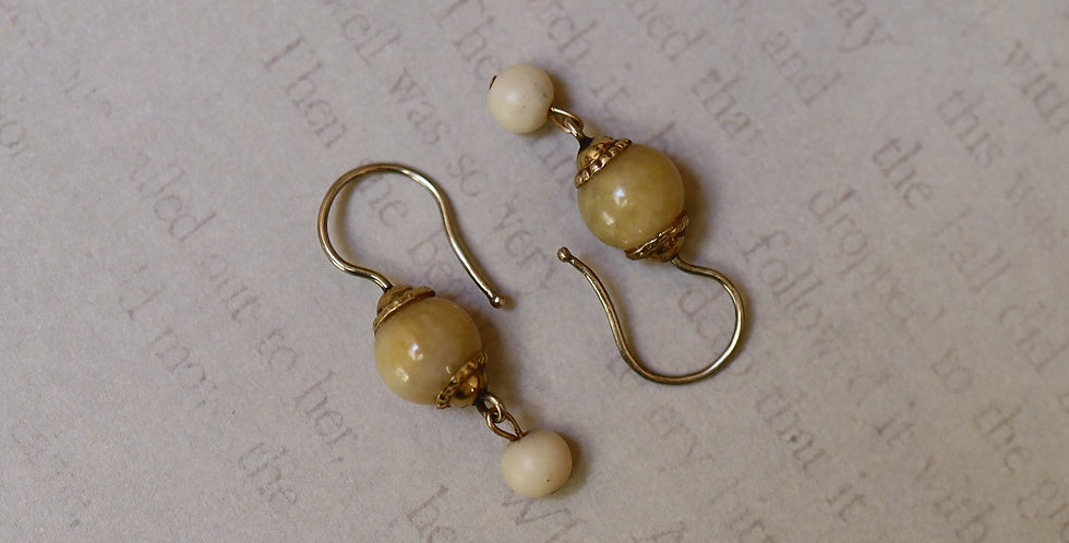 Victorian Jade Earrings in 14k Yellow Gold / White Coral and Jade Drop Earrings