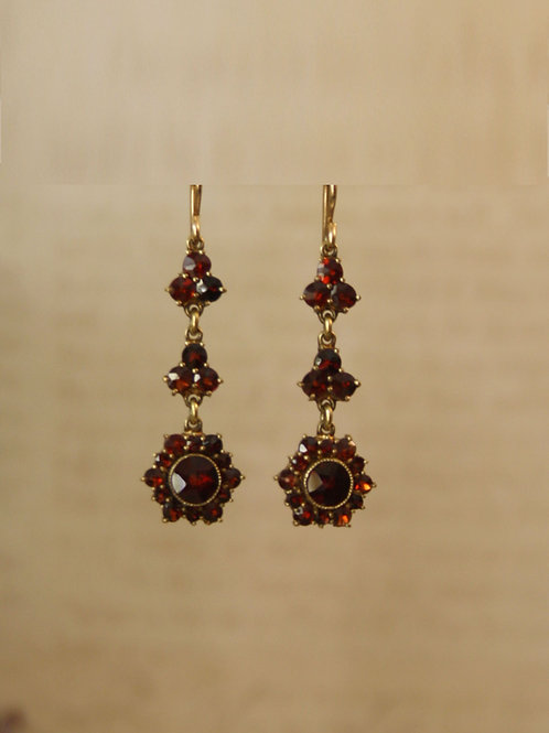 Elegant Victorian Bohemian Garnet Drop Earrings