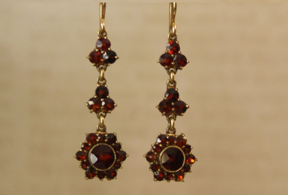 Elegant Victorian Bohemian Garnet Drop Earrings
