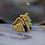 Thumbnail: 18k Yellow Gold Tourmaline & Lapis Ring Abstract Ring