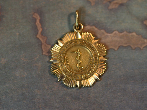 Retro 1947 President of Brooklyn Medical Society 14k Gold Pendant A. Koplowitz
