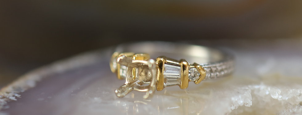 Platinum and 18k Yellow Gold Two Tone Engagement Mounting with Hand Engraving