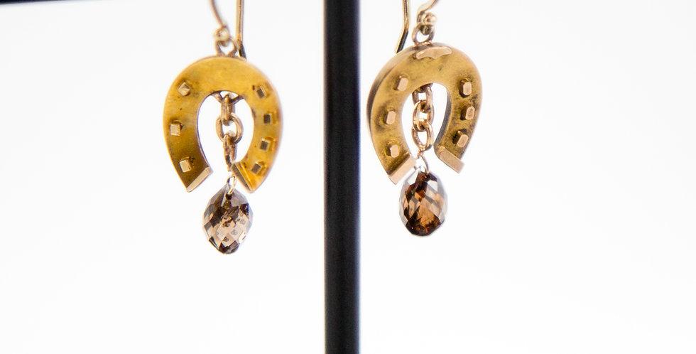 Good Luck Earrings / Diamond Earrings Victorian Horseshoe Earrings Cognac Diamon
