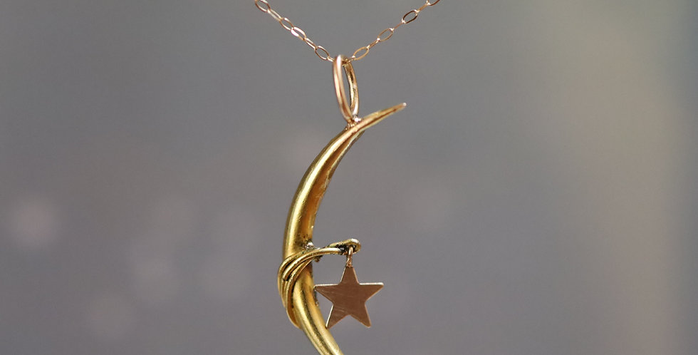 Antique Victorian Crescent Moon and Star Pendant in 14k Gold