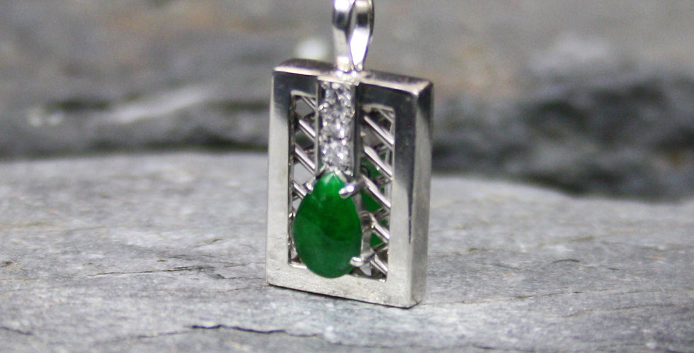 Natural Emerald and Diamond Drop Pendant in Platinum
