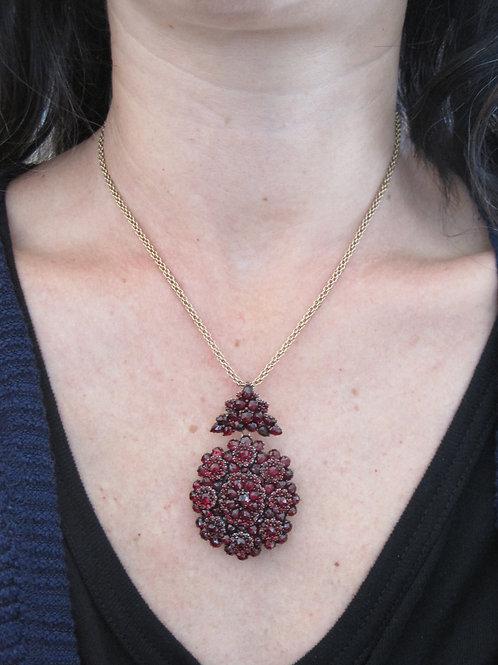 Authentic Early Victorian Bohemian Garnet Pendant Brooch Locket Picture Pendant
