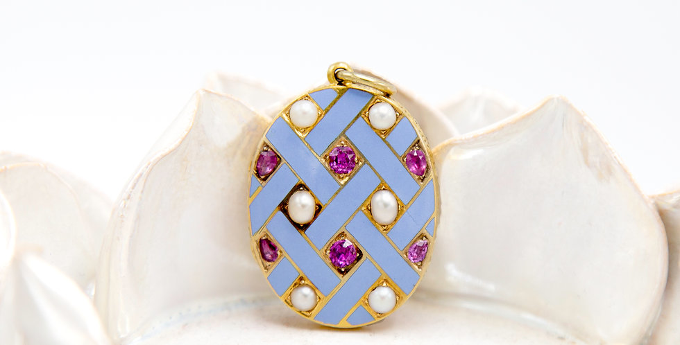 Antique Victorian Blue Enamel Locket in 18k Yellow Gold with Rubies and Pearls