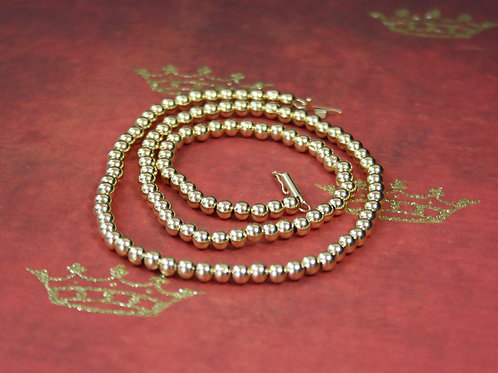 """Vintage Gold Necklace / 14k Gold Bead Necklace with 3.8 mm Beads 16.75 """" Length"""