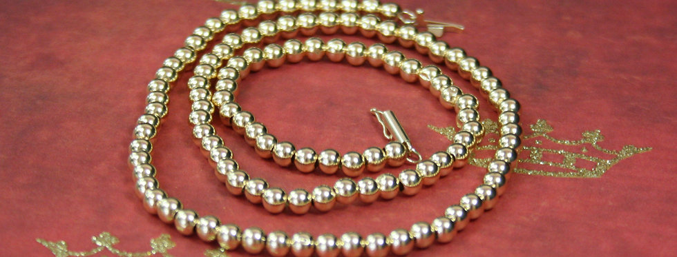 "Vintage Gold Necklace / 14k Gold Bead Necklace with 3.8 mm Beads 16.75 "" Length"