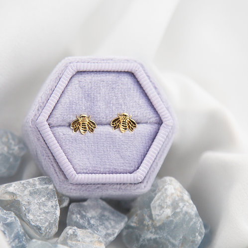 Newly Crafted Bumble Bee Bumblebee Studs available Sterling Silver, Gold, Plat