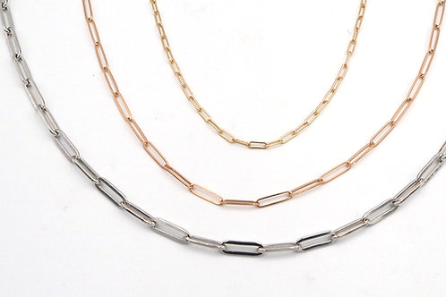 14k Gold and Silver PaperClip Chain 1.95 mm wide