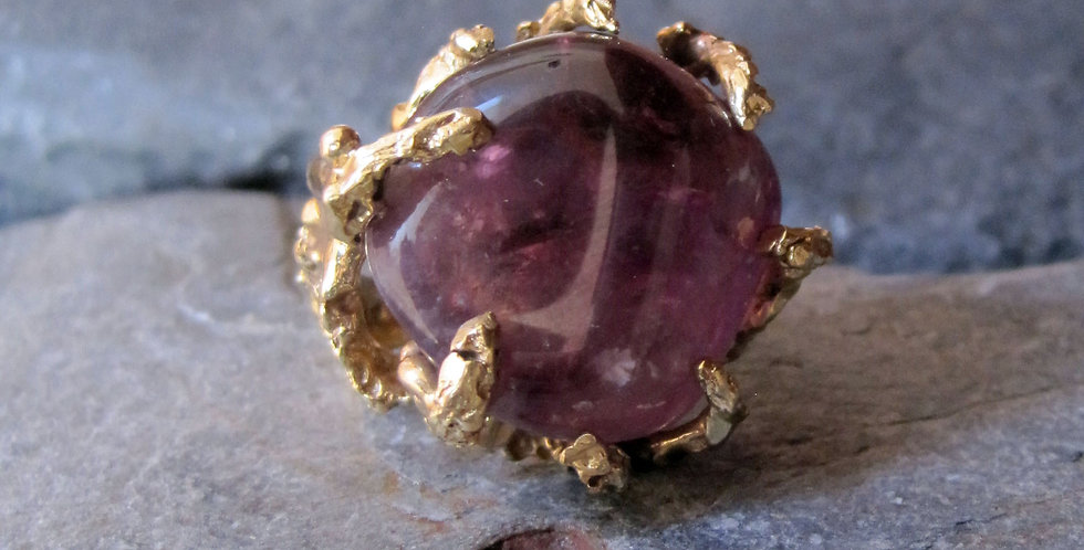 Large Amethyst Gold Nugget Ring in 14k Yellow Gold