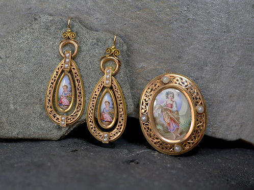 French Victorian Painted Porcelain Earrings and Pendant / Brooch Suite