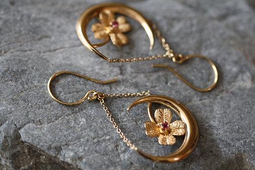 Victorian Crescent Moon & Flower Ruby Drop Earrings in 9k Gold