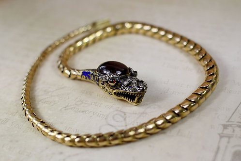 Incredible Victorian Snake Necklace / Garnet and Diamonds