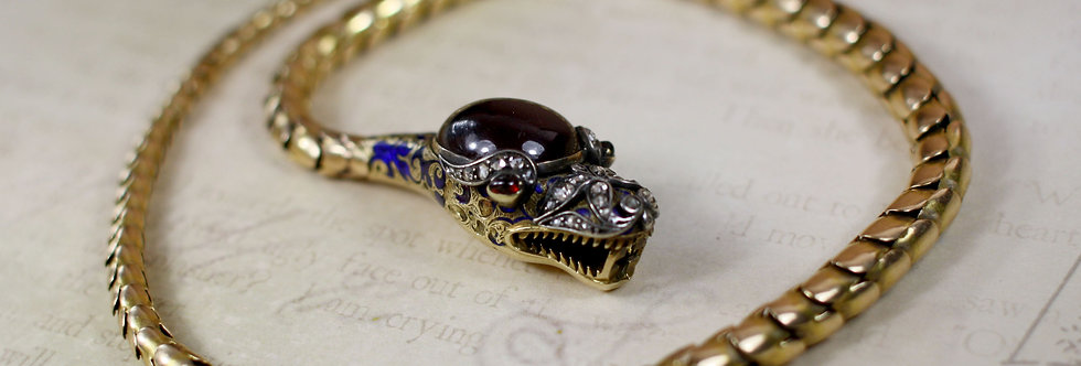 Incredible Victorian Ouroboros Snake Necklace / Garnet and Diamonds