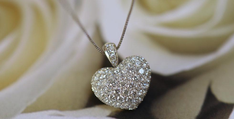 Puffy Diamond Heart / Pave Diamond Heart Pendant in 18k White Gold 1.75 cts