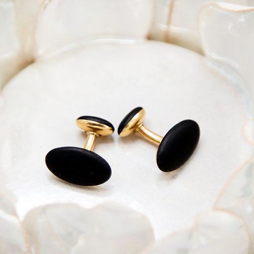 Elegant Art Nouveau Black Enamel Cufflinks in 14k Yellow Gold - JL634