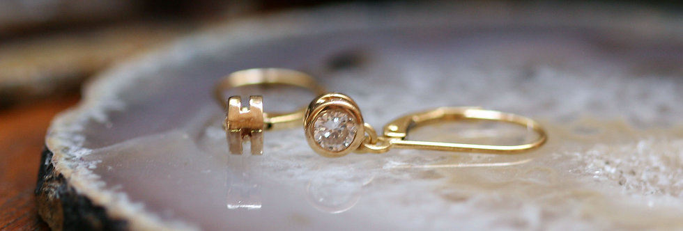Recycled Diamond Drop Earrings in 18k Yellow Gold 2 = 0.50 cts H/I SI1