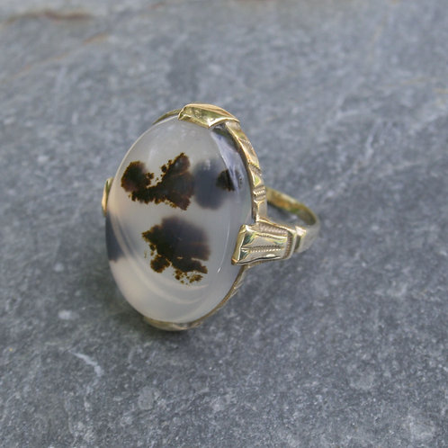 Victorian Oval Moss Agate 10k Yellow Gold Ring