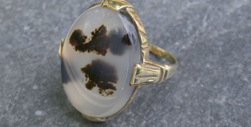 Art Deco Ostby & Barton Oval Moss Agate 10k Yellow Gold Ring