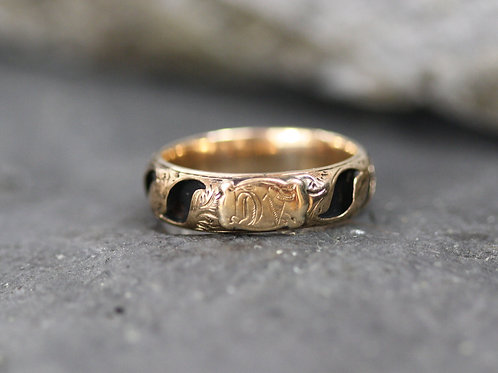 Victorian Mourning Ring Black Enamel Band in 10k Yellow Gold Size 7
