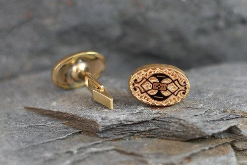 Antique Black Enamel Cufflinks Gold Filled & 14k Yellow Gold Cuff Links
